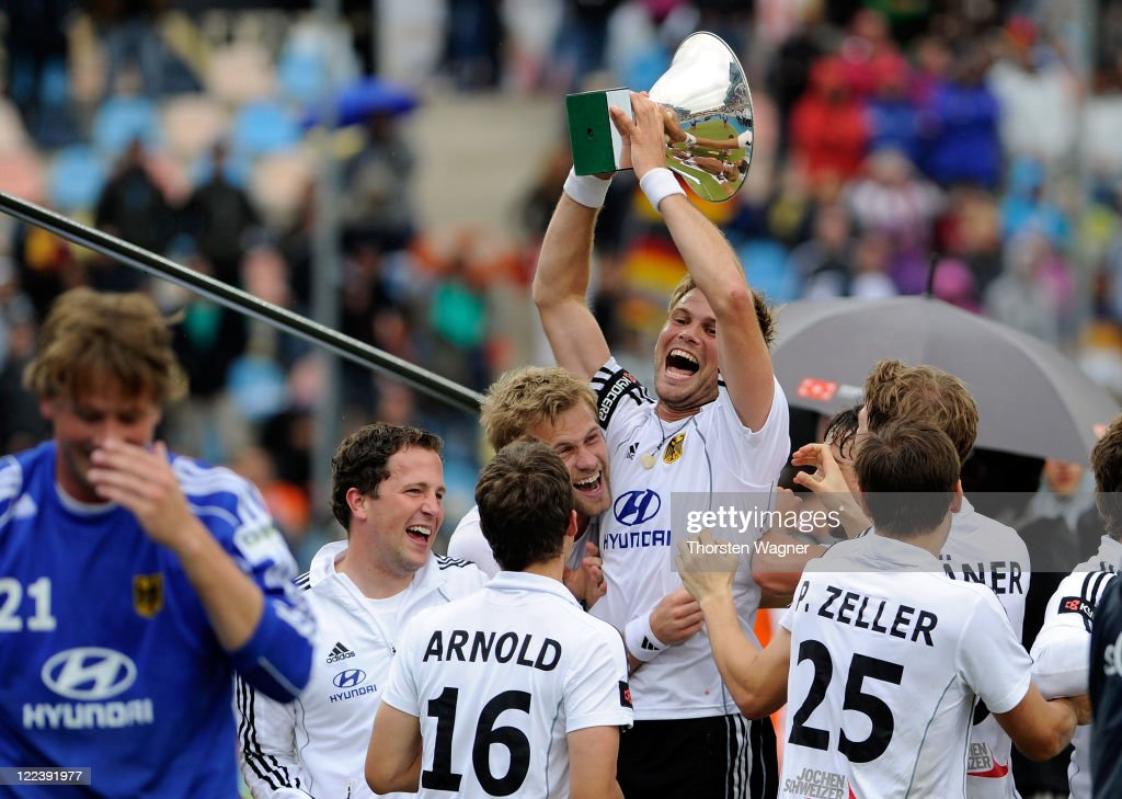 Moritz Fuerste best player of tournament with the trophy, pictured after the EuroHockey 2011 final match between Netherlands and Germany at Warsteiner HockeyPark on August 28, 2011 in Moenchengladbach, Germany.