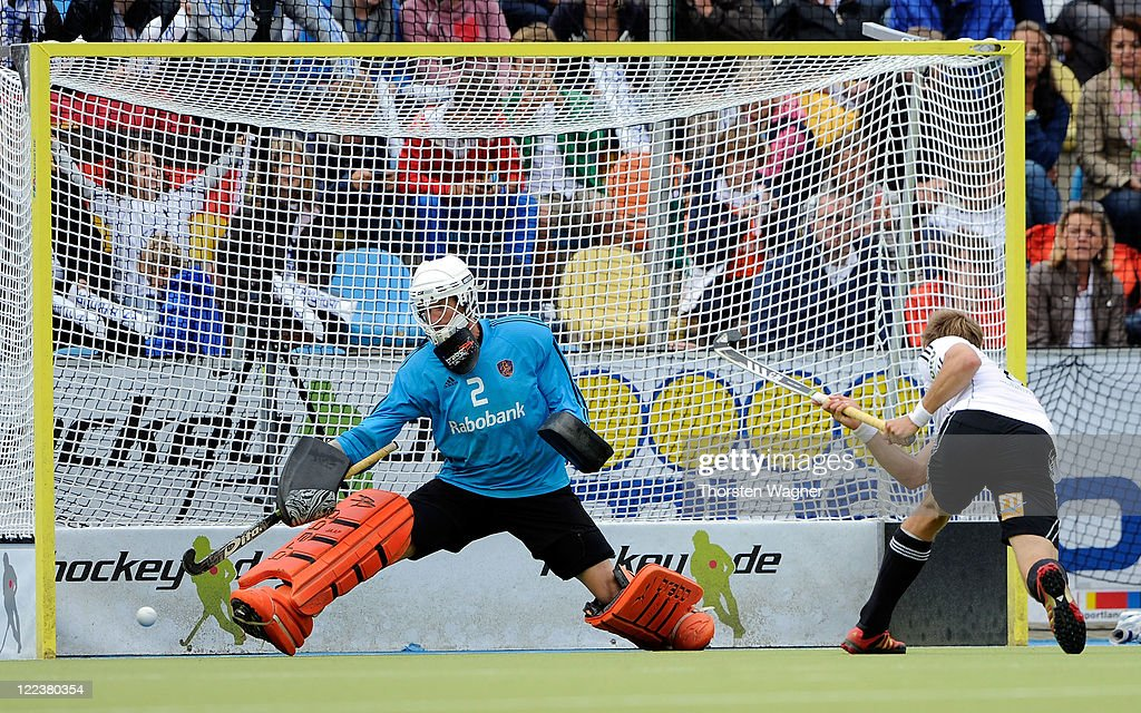 Moritz Fuerste is scoring his teams second goal with a penalty during the EuroHockey 2011 final match between Netherlands and Germany at Warsteiner HockeyPark on August 28, 2011 in Moenchengladbach, Germany.