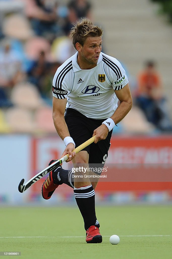 Moritz Fuerste of Germany runs with the ball during the Men´s EuroHockey Championships 2011 Pool A match between Germany and Russia at Warsteiner HockeyPark on August 24, 2011 in Moenchengladbach, Germany.