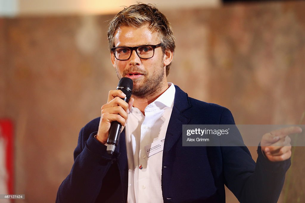 Moritz Fuerste talks to the audience during the DOSB extraordinary assembly at Paulskirche on March 21, 2015 in Frankfurt am Main, Germany. The DOSB will announce which German city will apply for the 2022 Olympic Games.