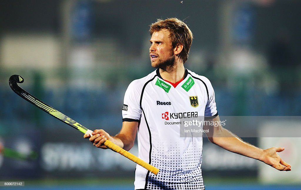 Moritz Furste of Germany gestures during the match between Germany and Canada on day nine of The Hero Hockey League World Final at the Sardar Vallabh Bhai Patel International Hockey Stadium on December 05, 2015 in Raipur, India.