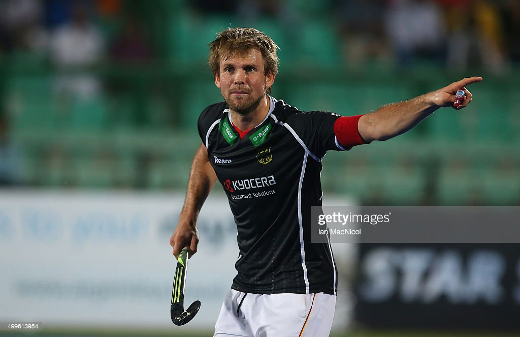 Moritz Furste of Germany reacts during the match between Australia and Germany on day six of The Hero Hockey League World Final at the Sardar Vallabh Bhai Patel International Hockey Stadium on December 02, 2015 in Raipur, India.