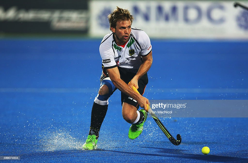 Moritz Furste of Germany runs with the ball during the match between India and Germany on day two of The Hero Hockey League World Final at the Sardar Vallabh Bhai Patel International Hockey Stadium on November 28, 2015 in Raipur, India.