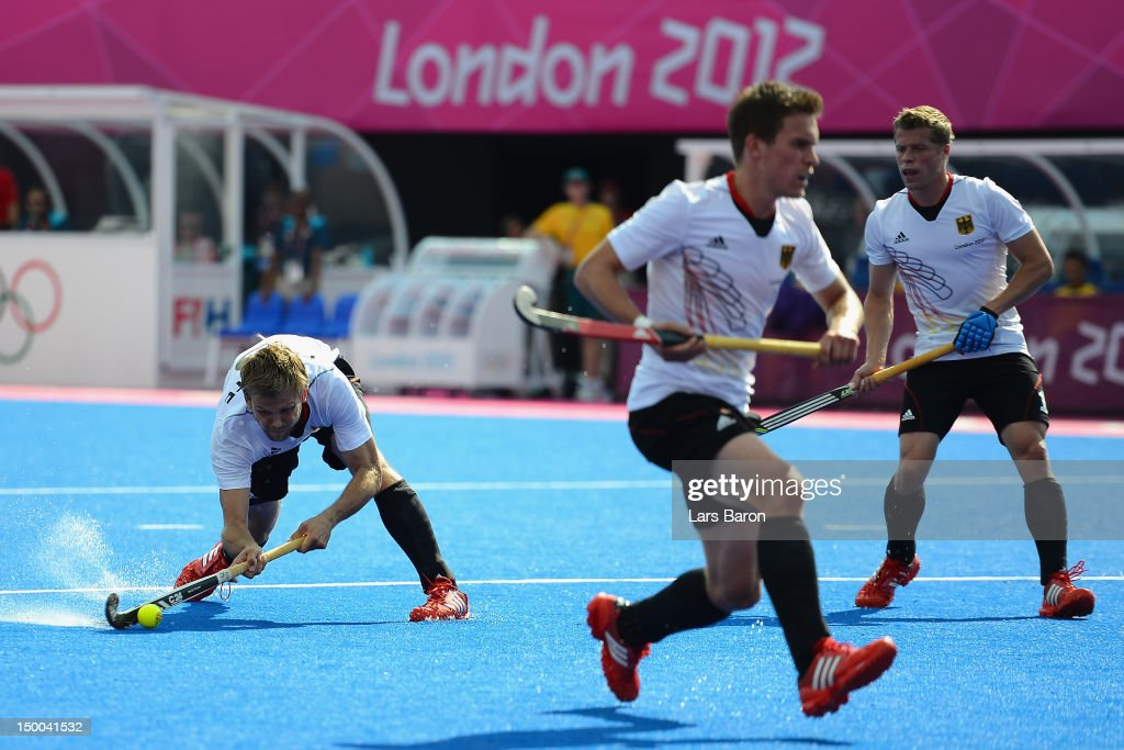 Moritz Furste of Germany scores his team's first goal during the Men's Hockey Semi Final match between Australia and Germany on Day 13 of the London 2012 Olympic Games at Riverbank Arena Hockey Centre on August 9, 2012 in London, England.
