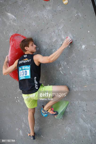 Moritz Hans of Germany competes during the Qualification of the IFSC Climbing World Cup Munich on August 18 2017 in Munich Germany
