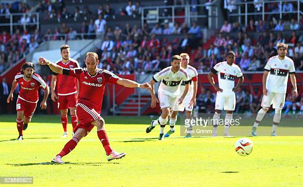 Moritz Hartmann of FC Ingolstadt converts the penalty to score his team's first goal during the Bundesliga match between FC Ingolstadt and FC Bayern...