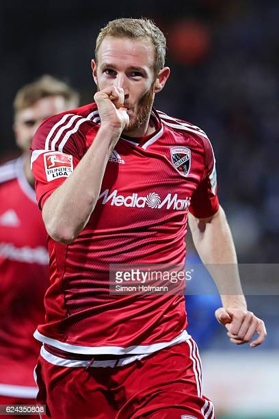 Moritz Hartmann of Ingolstadt celebrates his team's first goal during the Bundesliga match between SV Darmstadt 98 and FC Ingolstadt 04 at Stadion am...