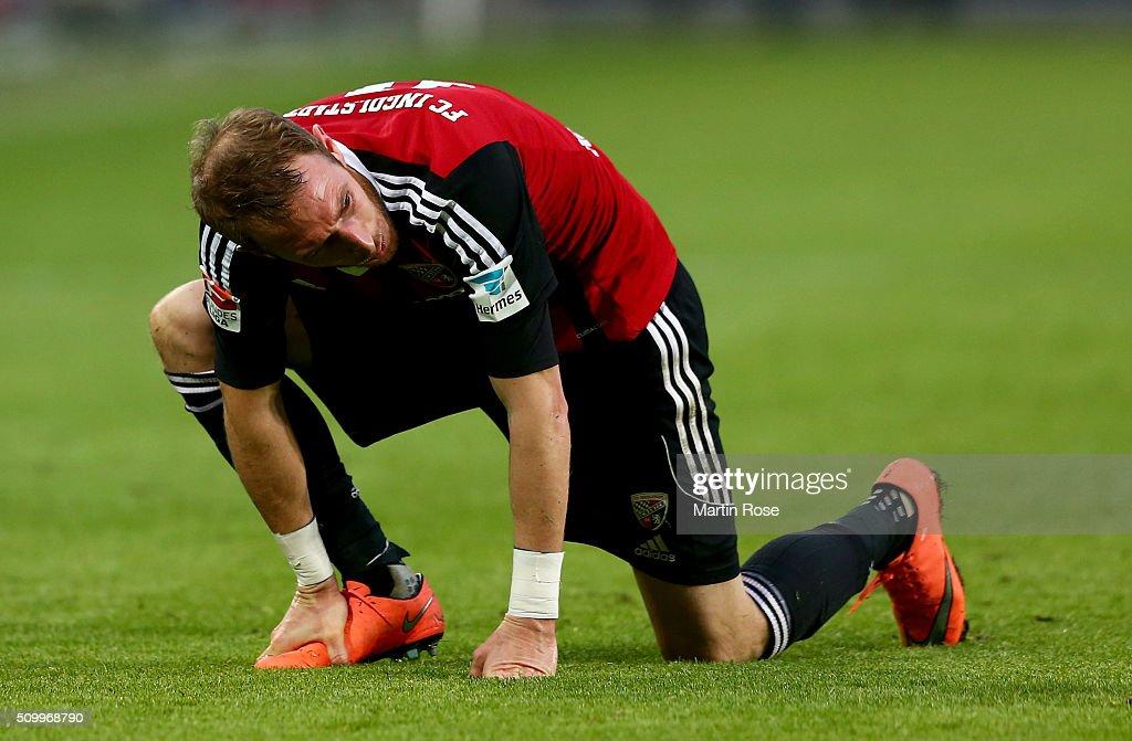 Moritz Hartmann of Ingolstadt looks dejected during the Bundesliga match between VfL Wolfsburg and FC Ingolstadt at Volkswagen Arena on February 13, 2016 in Wolfsburg, Germany.