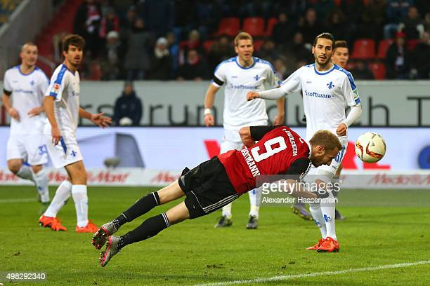 Moritz Hartmann of Ingolstadt scores the 3rd team goal during the Bundesliga match between FC Ingolstadt and SV Darmstadt 98 at Audi Sportpark on...