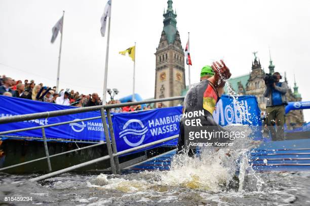 Moritz Horn of Germany exits the swim during the Elite Mixed Relay at Hamburg Wasser ITU World Triathlon Championships 2017 on July 16 2017 in...