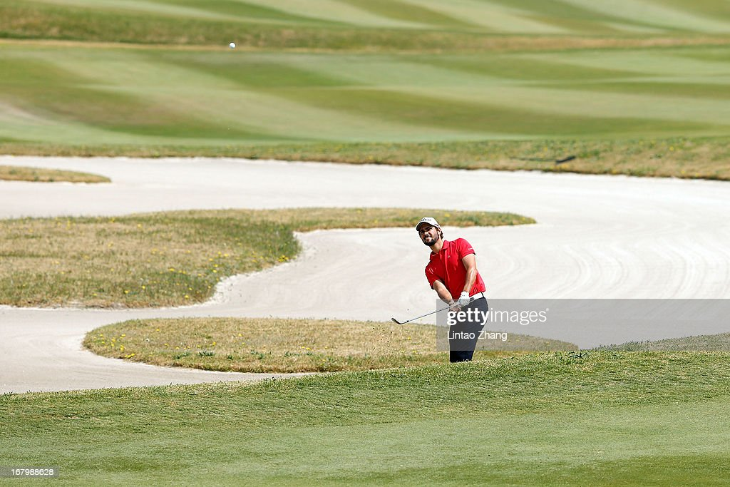 Moritz Lampert of Germany plays a shot during the third day of the Volvo China Open at Binhai Lake Golf Course on May 4, 2013 in Tianjin, China.
