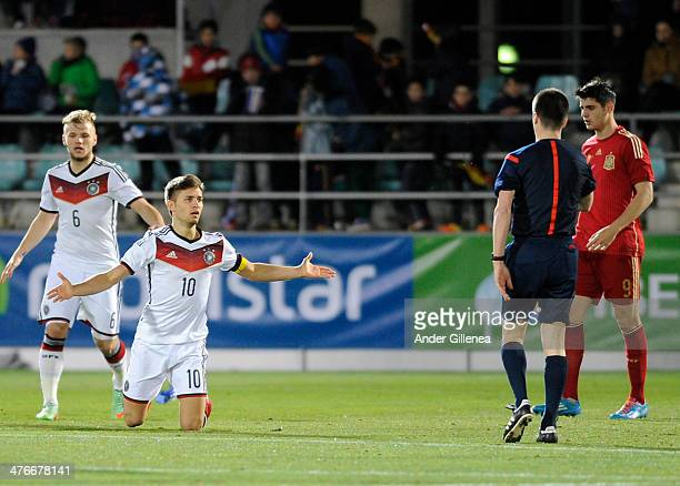Moritz Leitner gestures during an U21 international friendly match between Spain and Germany on March 4 2014 at the Labastera stadium n Palencia...
