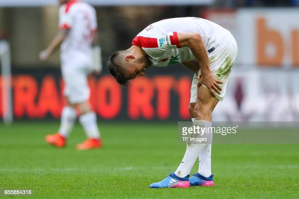 Moritz Leitner of Augsburg gestures during the Bundesliga match between FC Augsburg and SC Freiburg at WWK Arena on March 18 2017 in Augsburg Germany