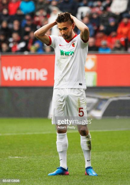 Moritz Leitner of Augsburg is dejected during the Bundesliga match between FC Augsburg and SC Freiburg at WWK Arena on March 18 2017 in Augsburg...