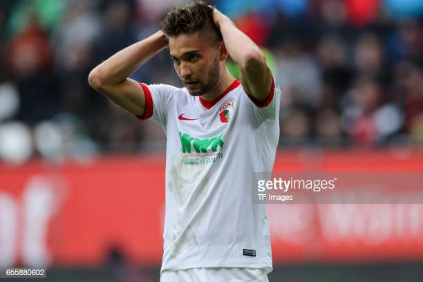 Moritz Leitner of Augsburg looks dejected during the Bundesliga match between FC Augsburg and SC Freiburg at WWK Arena on March 18 2017 in Augsburg...