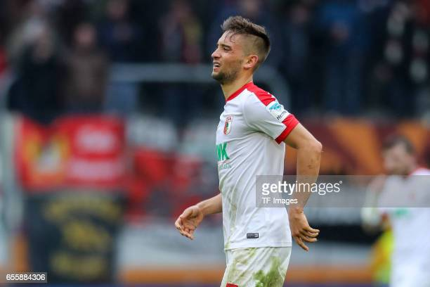 Moritz Leitner of Augsburg looks on during the Bundesliga match between FC Augsburg and SC Freiburg at WWK Arena on March 18 2017 in Augsburg Germany