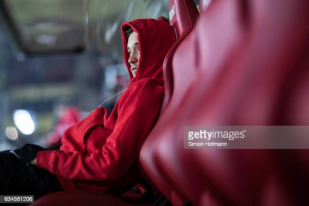 Moritz Leitner of Augsburg looks on prior to the Bundesliga match between 1 FSV Mainz 05 and FC Augsburg at Opel Arena on February 10 2017 in Mainz...
