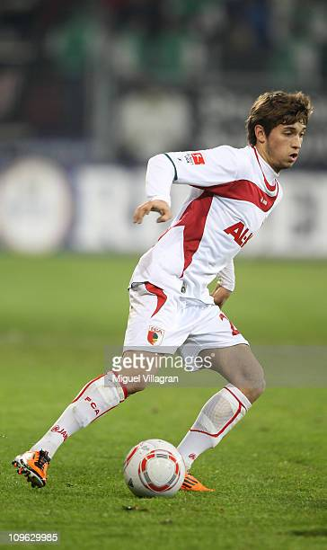 Moritz Leitner of Augsburg plays the ball during the Second Bundesliga match between FC Augsburg and Erzgebirge Aue at Impuls Arena on February 28...