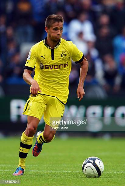 Moritz Leitner of Dortmund runs with the ball during a friendly match between Club Brugge KV and Borussia Dortmund at Jan Breydel Stadium on July 14...