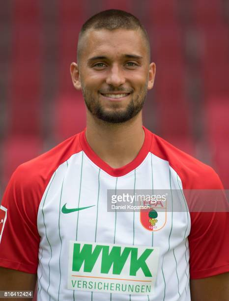 Moritz Leitner of FC Augsburg poses during the team presentation at WWK Arena on July 17 2017 in Augsburg Germany