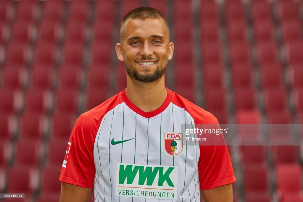 Moritz Leitner of FC Augsburg poses during the team presentation at WWK Arena on July 17, 2017 in Augsburg, Germany.