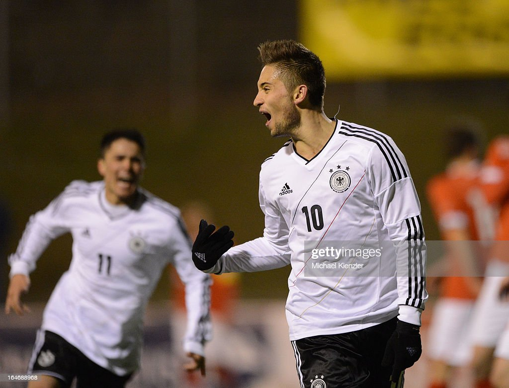 Moritz Leitner of Germany celebrates his goal during the international friendly match between U20 Switzerland and U20 Germany at Eps Stadium on March 26, 2013 in Baden, Switzerland