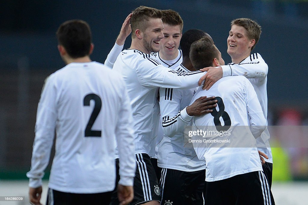 <a gi-track='captionPersonalityLinkClicked' href=/galleries/search?phrase=Moritz+Leitner&family=editorial&specificpeople=7118695 ng-click='$event.stopPropagation()'>Moritz Leitner</a> of Germany celebrates with teammates after scoring his team's second goal during the International Friendly match between U20 Germany and U20 Switzerland on March 22, 2013 in Cologne, Germany.