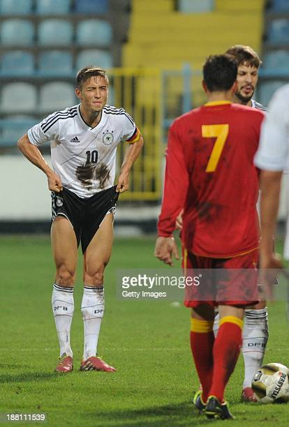 Moritz Leitner of Germany reacts during the UEFA Under21 European Championships Qualifier between U21 Montenegro and U21 Germany at Pod Goricom...