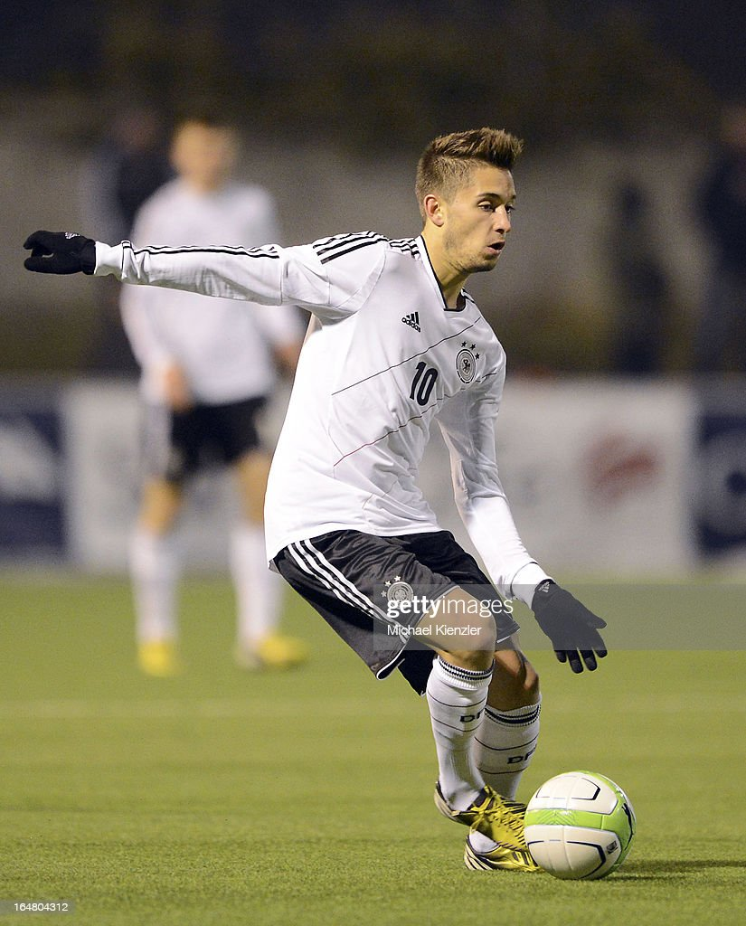 Moritz Leitner of Germany runs with the ball during the international friendly match between U20 Switzerland and U20 Germany at Eps Stadium on March 26, 2013 in Baden, Switzerland