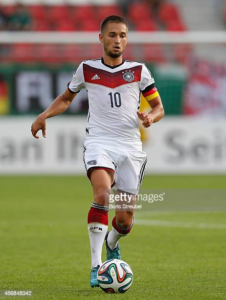 Moritz Leitner of Germany runs with the ball during the UEFA Under21 European Championships Qualifier between Germany and The Republic of Ireland at...