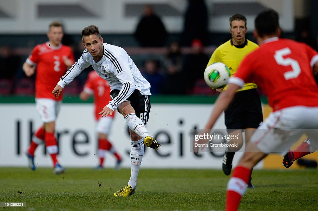 Moritz Leitner of Germany scores his team's second goal during the International Friendly match between U20 Germany and U20 Switzerland on March 22, 2013 in Cologne, Germany.