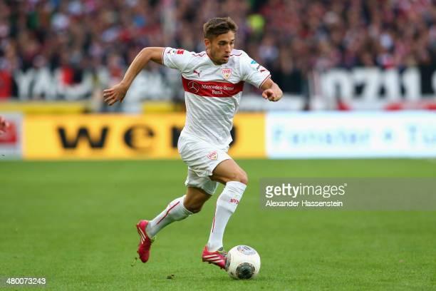 Moritz Leitner of Stuttgart runs with the ball during the Bundesliga match between VfB Stuttgart and Hamburger SV at MercedesBenz Arena on March 22...