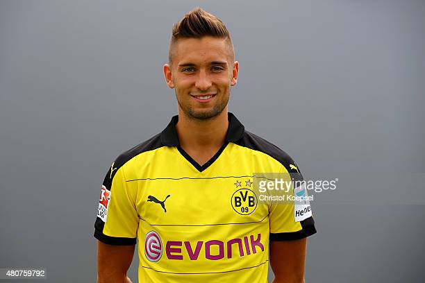 Moritz Leitner poses during the team presentation of Borussia Dortmund at Brackel training ground on July 15 2015 in Dortmund Germany
