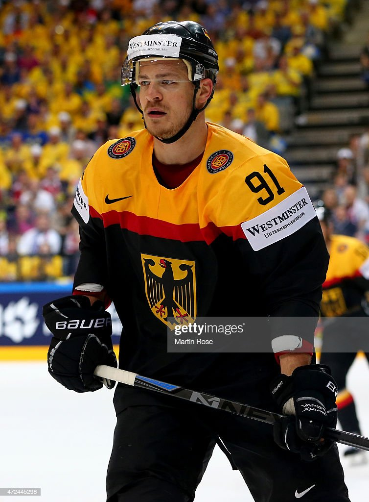<a gi-track='captionPersonalityLinkClicked' href=/galleries/search?phrase=Moritz+Mueller&family=editorial&specificpeople=853045 ng-click='$event.stopPropagation()'>Moritz Mueller</a> of Germany reacts after the IIHF World Championship group A match between Sweden and Germany at o2 Arena on May 7, 2015 in Prague, Czech Republic.