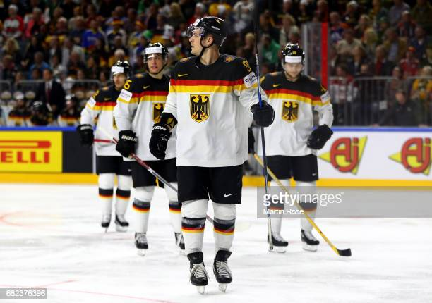 Moritz Mueller of Germany reacts during the 2017 IIHF Ice Hockey World Championship game between Denmark and Germany at Lanxess Arena on May 12 2017...