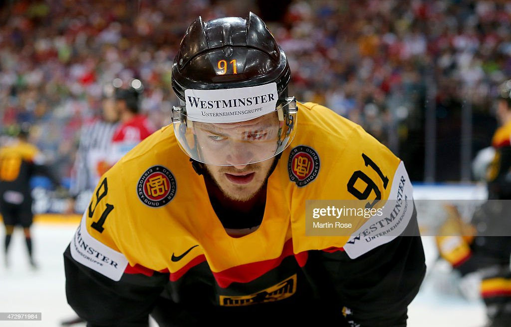 <a gi-track='captionPersonalityLinkClicked' href=/galleries/search?phrase=Moritz+Mueller&family=editorial&specificpeople=853045 ng-click='$event.stopPropagation()'>Moritz Mueller</a> of Germany reacts during the IIHF World Championship group A match between Germany and Austria at o2 Arena on May 11, 2015 in Prague, Czech Republic.