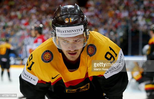 Moritz Mueller of Germany reacts during the IIHF World Championship group A match between Germany and Austria at o2 Arena on May 11 2015 in Prague...