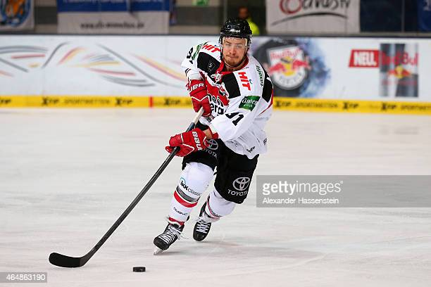 Moritz Mueller of Koeln skates during the DEL Ice Hockey match between EHC Red Bull Muenchen and Koelner Haie at Olympia Eishalle on March 1 2015 in...