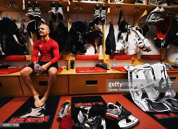 Moritz Mueller of Koelner Haie sits in the locker room after the Champions Hockey League group stage game between Koelner Haie and HC Kosice on...