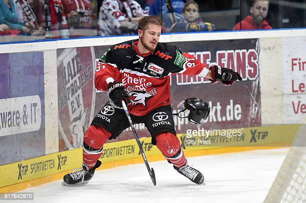 Moritz Mueller of the Koelner Haien during the DEL playoff match between Koelner Haie and the Eisbaeren Berlin on March 26 2016 in Cologne Germany