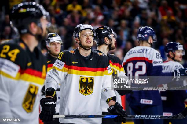 Moritz Muller of Germany reacts during the 2017 IIHF Ice Hockey World Championship game between Germany and Slovakia at Lanxess Arena on May 10 2017...