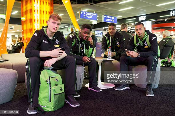 Moritz Nicolas BaMuaka Simakala Tsiy William Ndenge and Djibril Sow of Borussia Moenchengladbach departs to Marbella on January 06 2017 in...