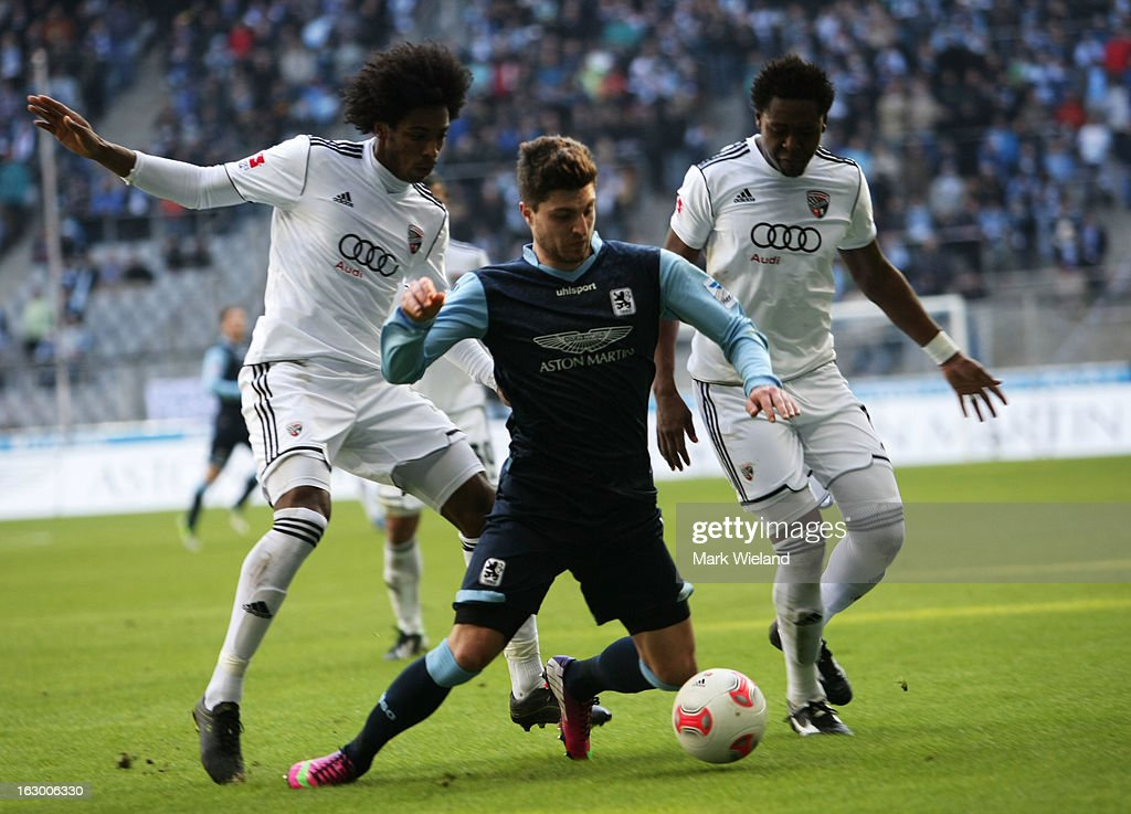 Moritz Stoppelkamp of 1860 Muenchen is fouled during the Second Bundesliga League match between 1860 Muenchen and FC Ingostadt at Allianz Arena on March 3, 2013 in Munich, Germany.