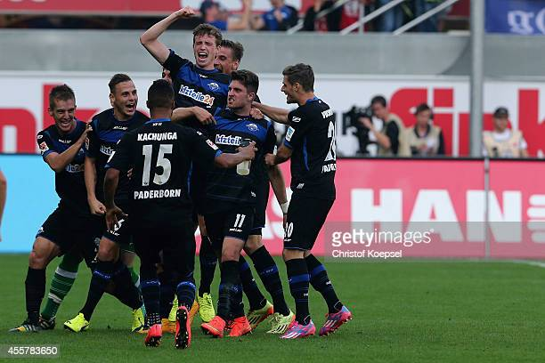 Moritz Stoppelkamp of Paderborn celebrates the second goal during the Bundesliga match between SC Paderborn and Hannover 96 at Benteler Arena on...