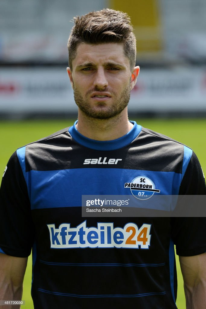 Moritz Stoppelkamp poses during SC Paderborn 07 team presentation at Benteler-Arena on July 4, 2014 in Paderborn, Germany.