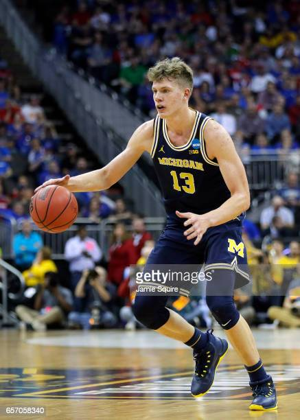 Moritz Wagner of the Michigan Wolverines handles the ball on offense against the Oregon Ducks during the 2017 NCAA Men's Basketball Tournament...