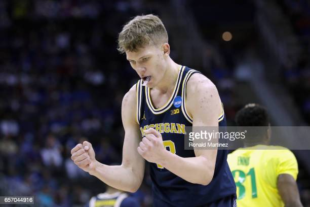 Moritz Wagner of the Michigan Wolverines reacts in the first half against the Oregon Ducks during the 2017 NCAA Men's Basketball Tournament Midwest...