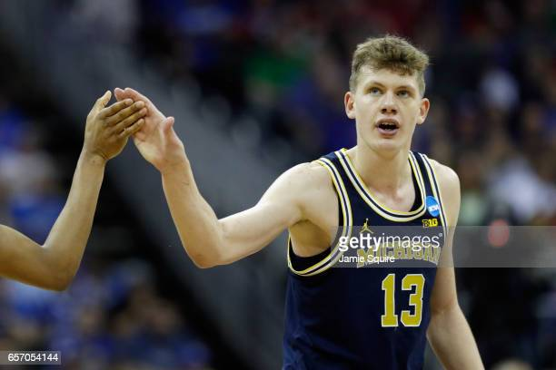 Moritz Wagner of the Michigan Wolverines reacts in the second half against the Oregon Ducks during the 2017 NCAA Men's Basketball Tournament Midwest...