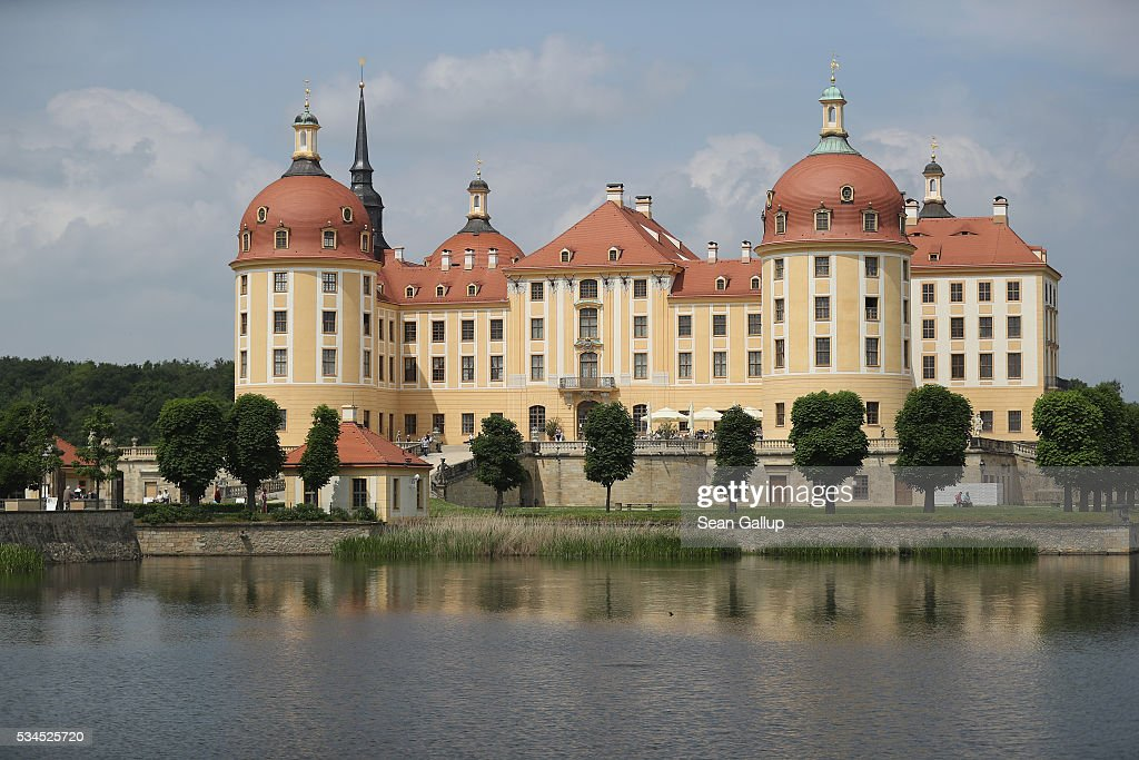 Moritzburg Castle (Schloss Moritzburg) stands on May 26, 2016 in Moritzburg, Germany. Moritzburg Castle is a Baroque palace that was originally built as a hunting lodge in the 16th century for Moritz, Duke of Saxony. Today it is among Saxony's main tourist attractions.