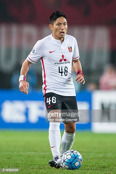 Moriwaki Ryota of Urawa Red Diamonds in action during the AFC Champions League match between Guangzhou Evergrande and Urawa Red Diamonds on March 16...
